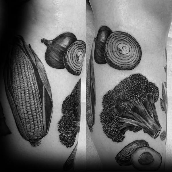 Shaded Black And Grey Amazing Mens Broccoli Tattoo Designs