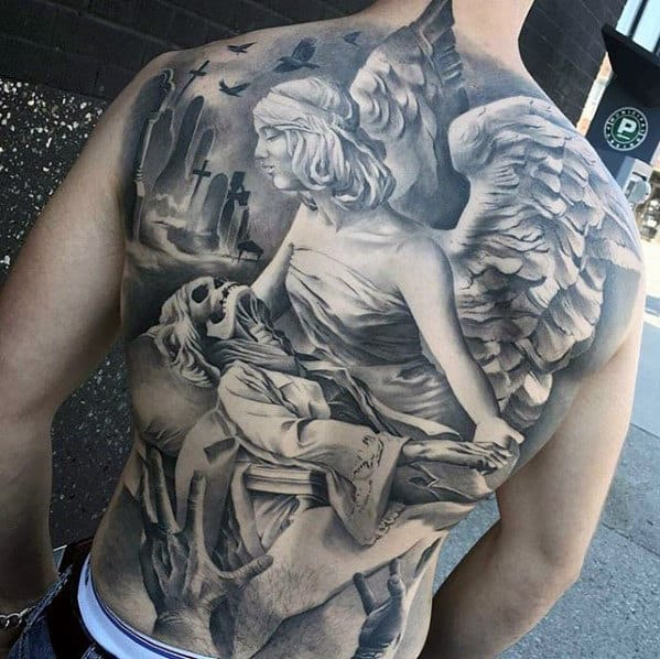 Shaded Black And Grey Angel Unbelievable Realistic 3d Tattoos For Men On Back