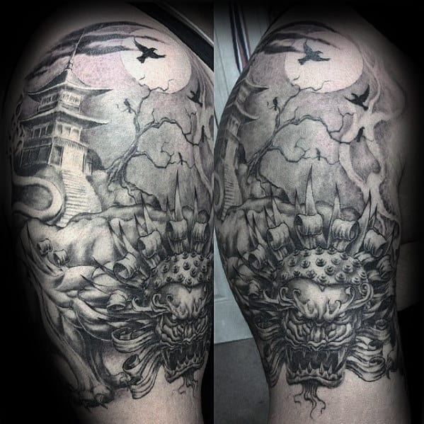 Shaded Black And Grey Angry Fu Dog Japanese Temple Mens Tattoos