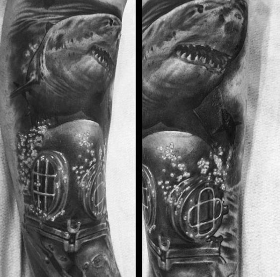 Shaded Black And Grey Arm Guys Diving Helmet Tattoo Design Ideas