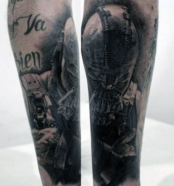 Shaded Black And Grey Bane Mens Forearm Tattoo Design Ideas