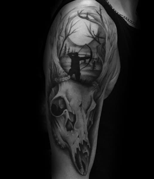 Shaded Black And Grey Bowhunting Arm Tattoos For Men