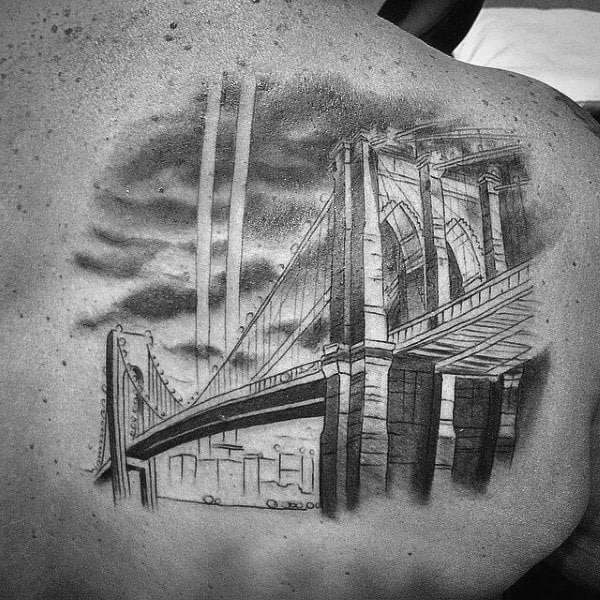 Shaded Black And Grey Brooklyn Bridge Mens Upper Back Tatto