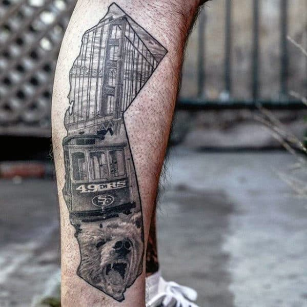Shaded Black And Grey California State San Francisco 49ers Themed Mens Tattoo On Leg