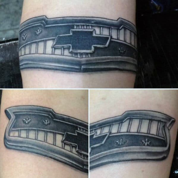 Shaded Black And Grey Chevy Car Grill Mens 3d Inner Forearm Tattoo