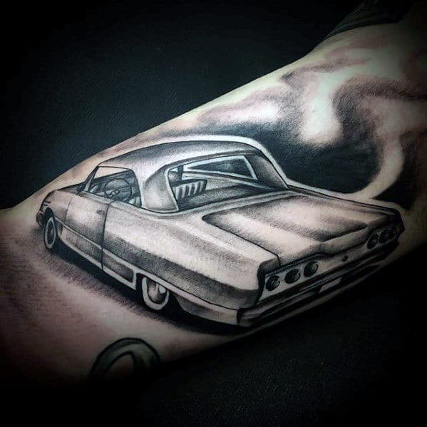 Shaded Black And Grey Chevy Coupe Mens Arm Tattoos