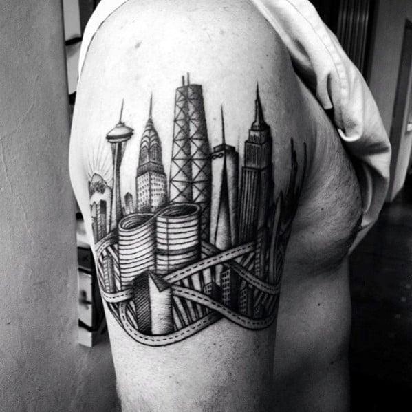 Shaded Black And Grey City Skyline Buildings Mens Arm Tattoo