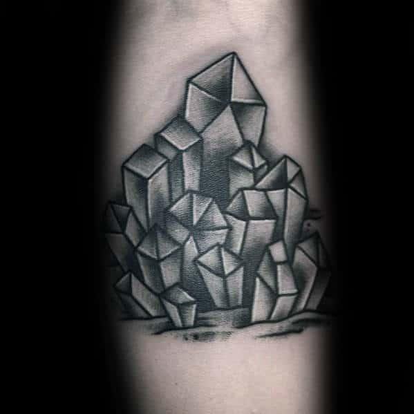 Shaded Black And Grey Crystal Mens Forearm Tattoos