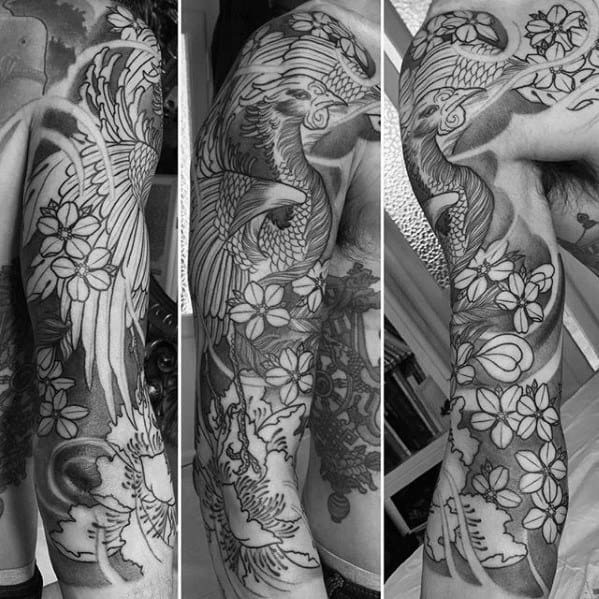 50 japanese phoenix tattoo designs for men mythical ink ideas. Black Bedroom Furniture Sets. Home Design Ideas