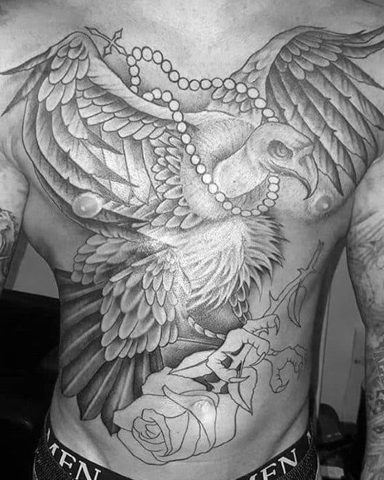 Shaded Black And Grey Flying Vulture With Rose Flower Mens Chest Tattoo