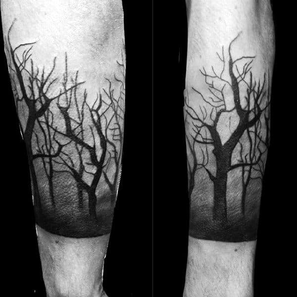 5c4e808696e16 Shaded Black And Grey Forest Tattoos For Gentlemen Above Wrist