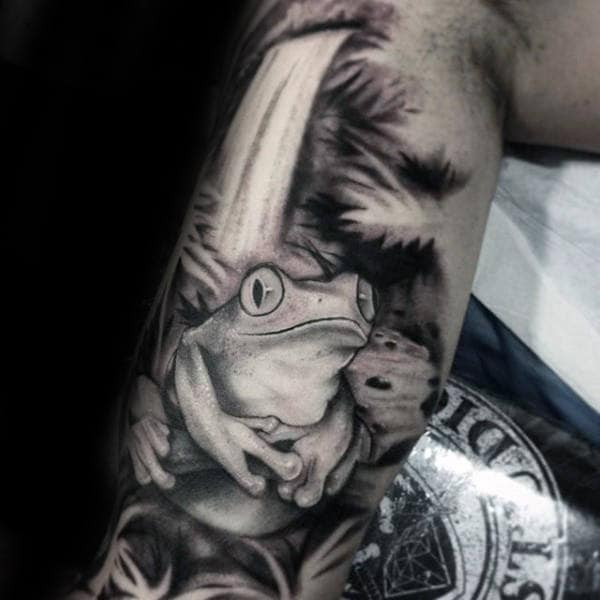 Shaded Black And Grey Frog Tattoos For Men On Arms
