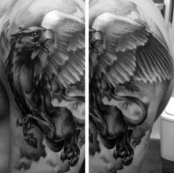 Shaded Black And Grey Griffin Arm Tattoo For Guys