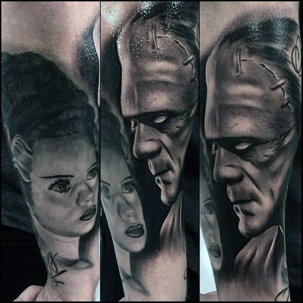 Shaded Black And Grey Guys Frankenstein Forearm Sleeve Tattoo