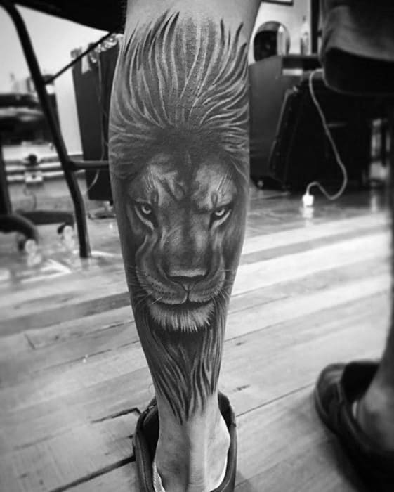 Shaded Black And Grey Guys Lion Leg Tattoo Ideas