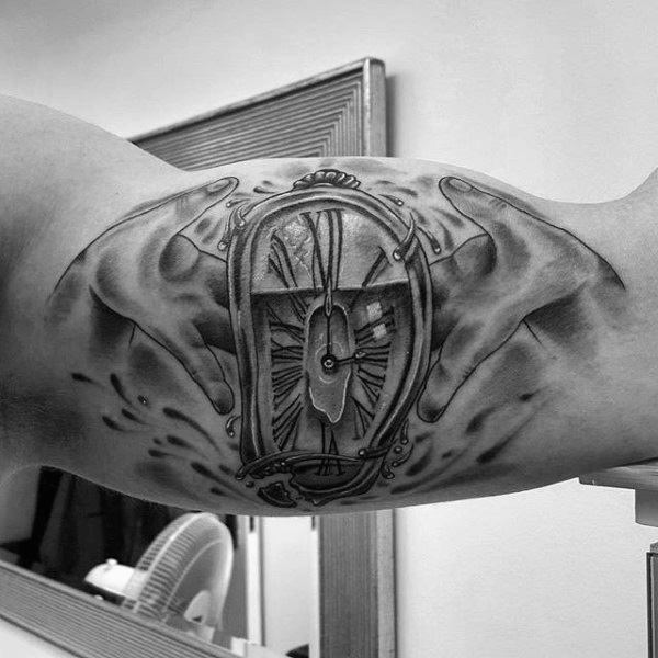 Shaded Black And Grey Guys Melting Clock Inner Arm Bicep Tattoo