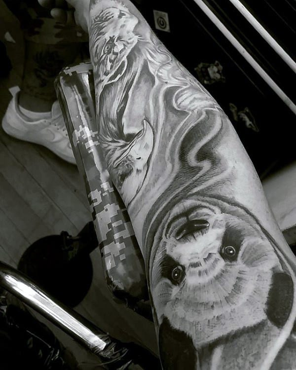 Shaded Black And Grey Guys Sleeve Panda Tattoo