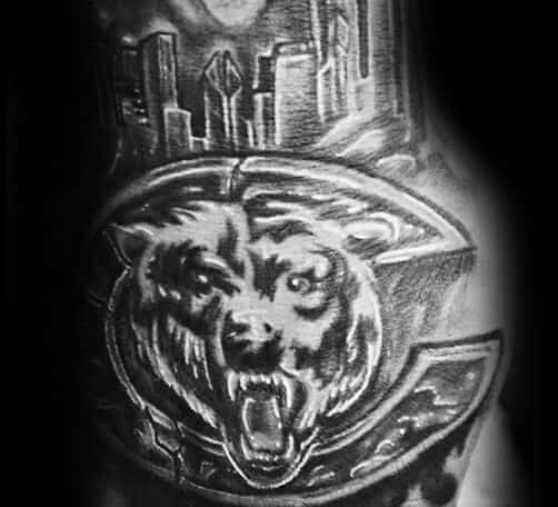 Shaded Black And Grey Hand Chicago Bears Male Tattoos