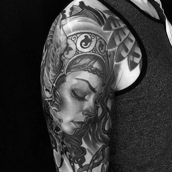 Shaded Black And Grey Heavily Shaded Arm Cool Valkyrie Tattoo Design Norse Mythology Ideas For Male