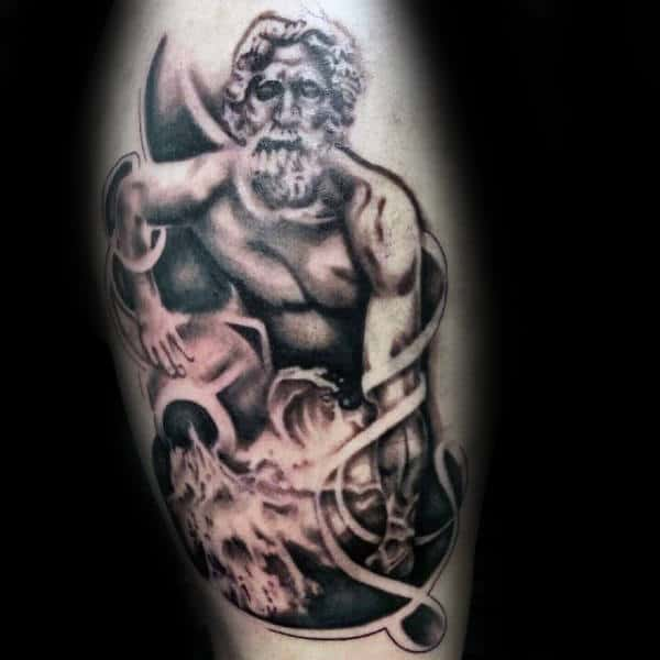 Shaded Black And Grey Ink Aquarius Male Arm Tattoos