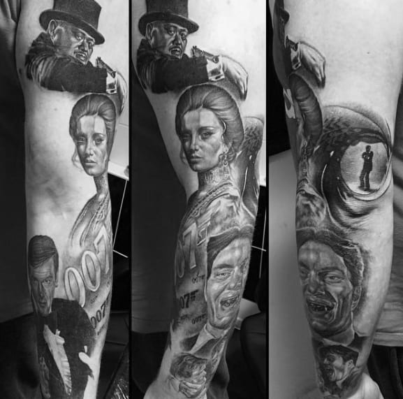 Shaded Black And Grey Ink Arm James Bond Mens Tattoo Ideas