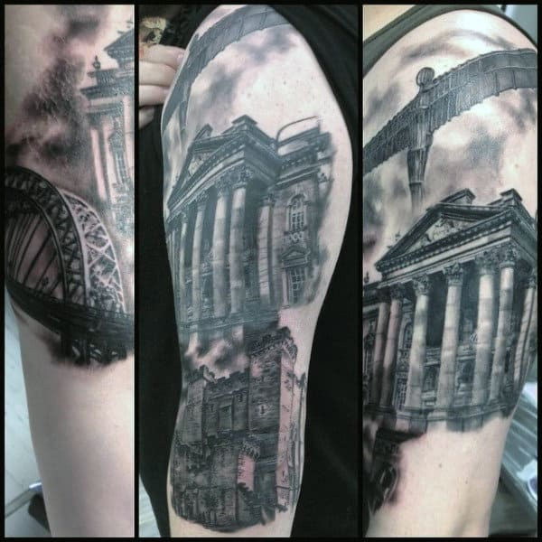 Shaded Black And Grey Ink Building Tattoo On Gentleman