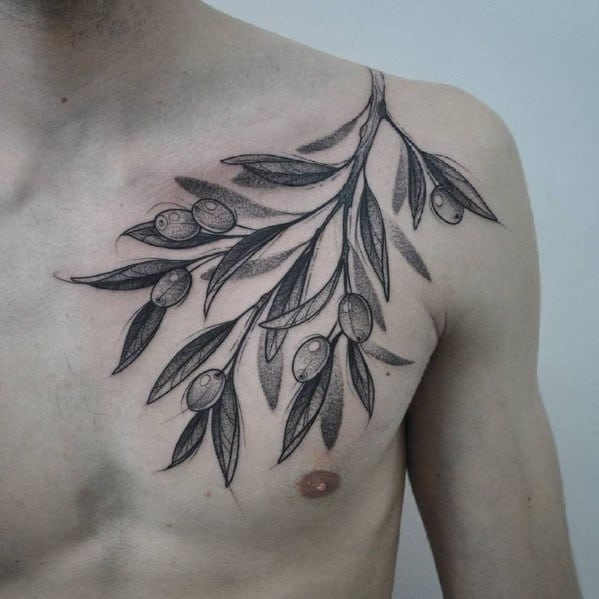 Shaded Black And Grey Ink Chest And Shoulder Guys Olive Tree Tattoo Deisgns