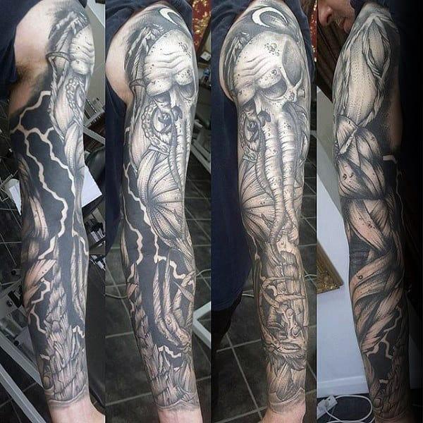 Shaded Black And Grey Ink Cthulhu Full Sleeve Male Tattoo