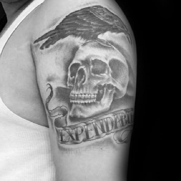 Shaded Black And Grey Ink Expendables Mens Arm Tattoo