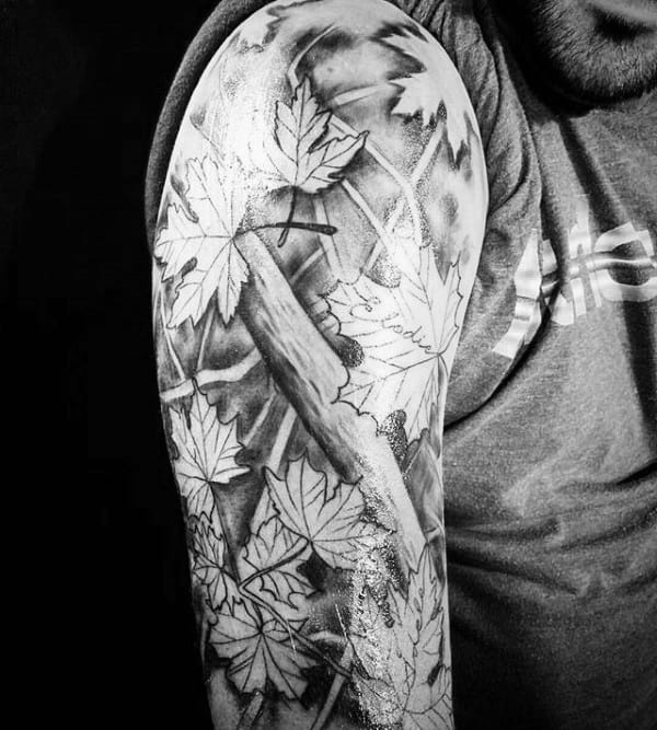 Shaded Black And Grey Ink Fall Guys Half Sleeve Tattoos