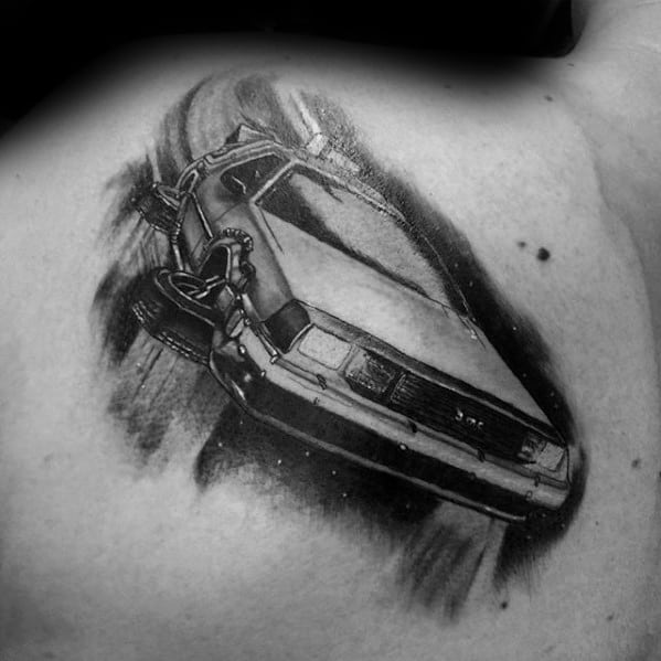 Shaded Black And Grey Ink Guys Back To The Future Delorean Upper Back Tattoos