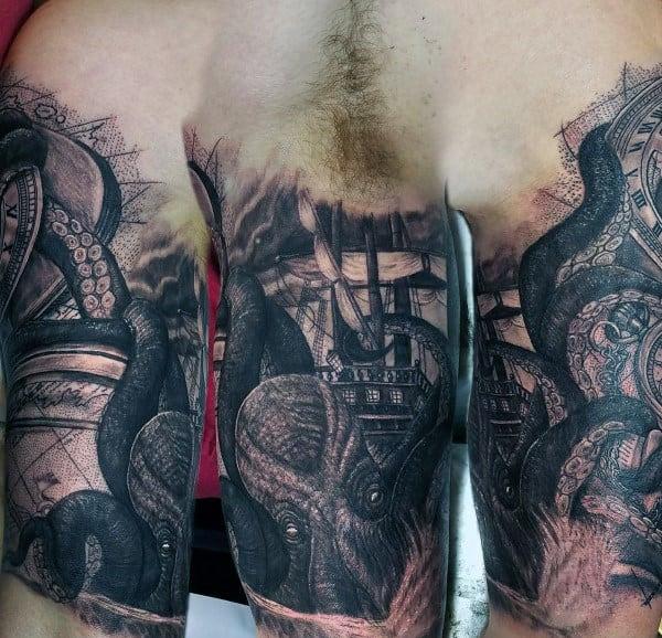 Shaded Black And Grey Ink Guys Half Sleeve Giant Kraken Tattoos