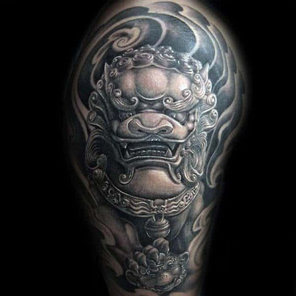 Shaded Black And Grey Ink Guys Half Sleeve Tattoo Design Of Foo Dog