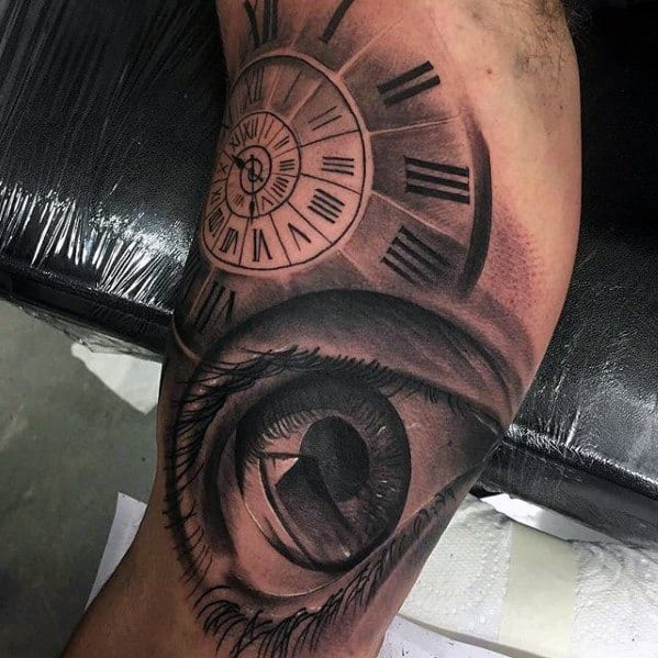 Shaded Black And Grey Ink Guys Realistic Roman Numeral Clock Tattoo