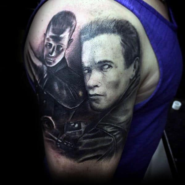 Shaded Black And Grey Ink Guys Upper Arm Terminator Tattoos