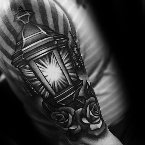 Shaded Black And Grey Ink Half Sleeve Male Lantern Tattoo Designs