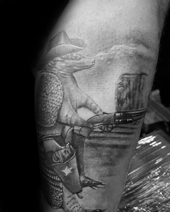 Shaded Black And Grey Ink Leg Armadillo Guys Tattoos