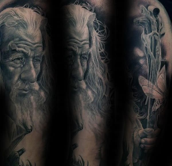 Shaded Black And Grey Ink Lord Of The Rings Gandalf Tattoos For Guys