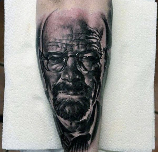 Shaded Black And Grey Ink Male Breaking Bad Tattoos