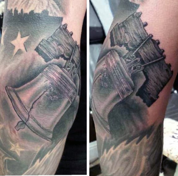 Shaded Black And Grey Ink Male Liberty Bellarm Tattoo Ideas