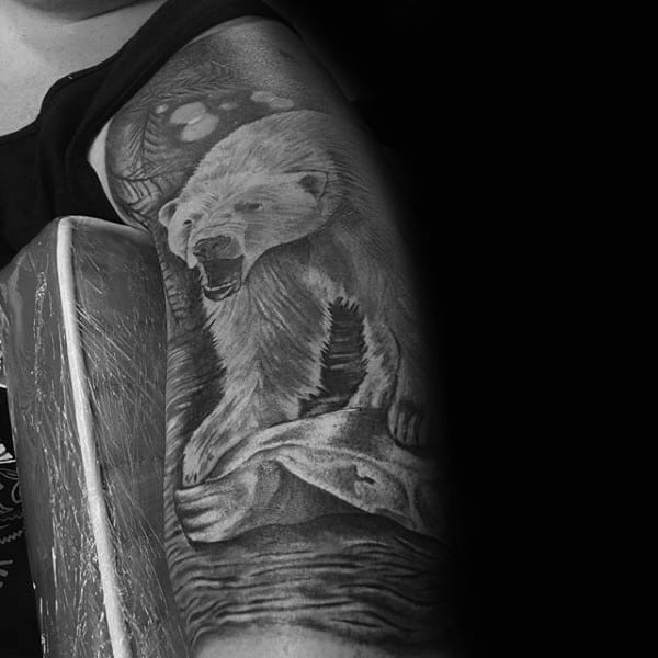 Shaded Black And Grey Ink Male Polar Bear Half Sleeve Tattoo