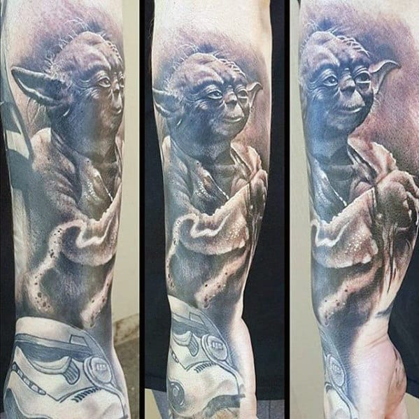 Shaded Black And Grey Ink Male Yoda Outer Forearm Tattoo