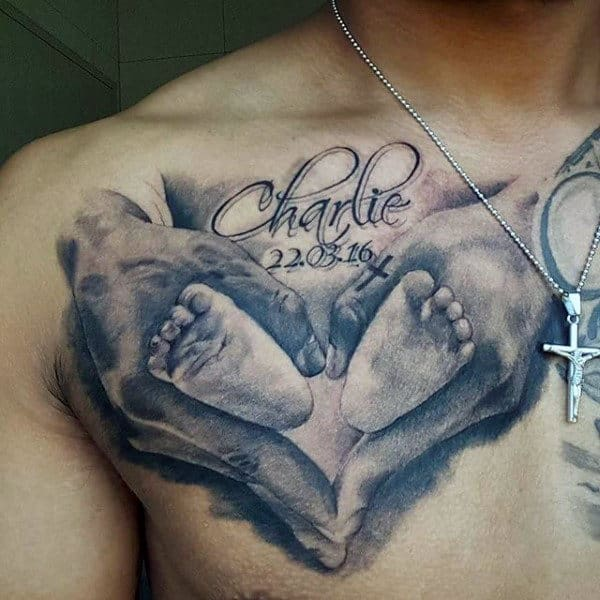 Shaded Black And Grey Ink Mens Footprint Chest Tattoos