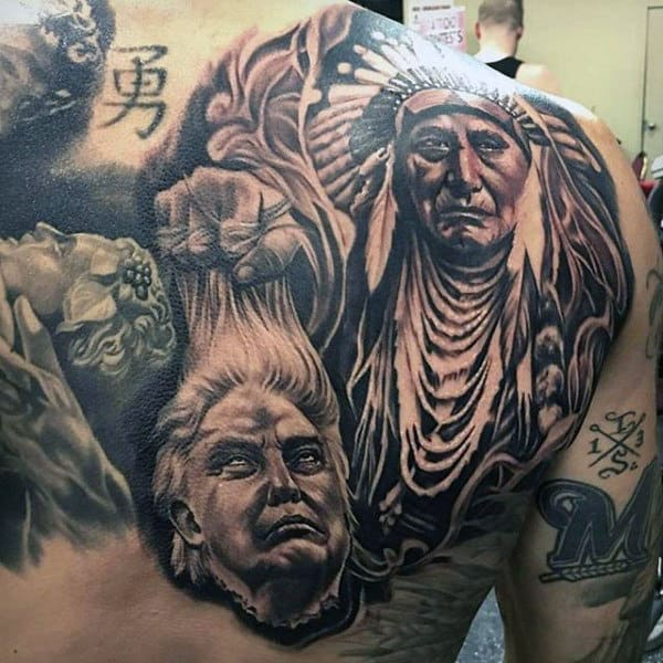 Shaded Black And Grey Ink Native American Guys Upper Back Tattoos