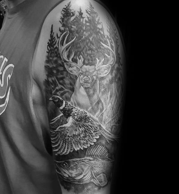Shaded Black And Grey Ink Nature Themed Half Sleeve Guys Pheasant Tattoos