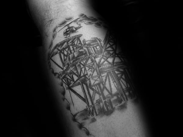 Shaded Black And Grey Ink Oilfield Leg Calf Tattoos For Males