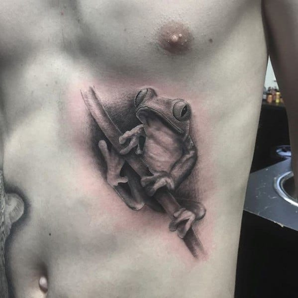 Shaded Black And Grey Ink Realistic Rib Cage Side Male Cool Tree Frog Tattoo Ideas