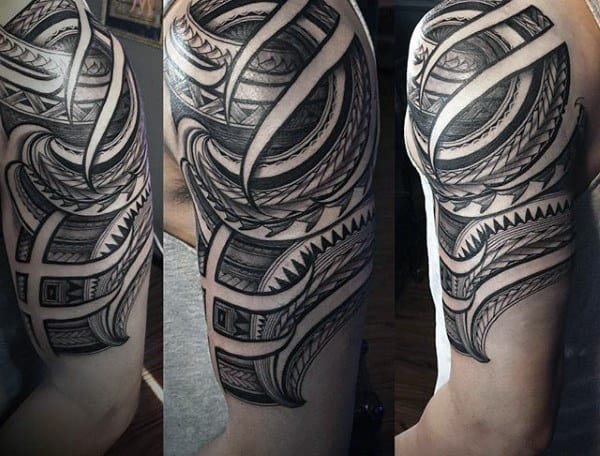Shaded Black And Grey Ink Tribal Half Sleeve Tattoo Designs For Men