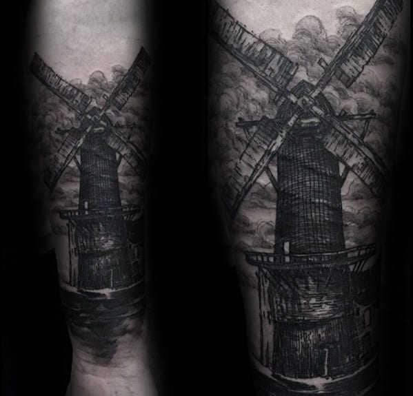 Shaded Black And Grey Ink Windmill Mens Inner Forearm Tattoo Ideas