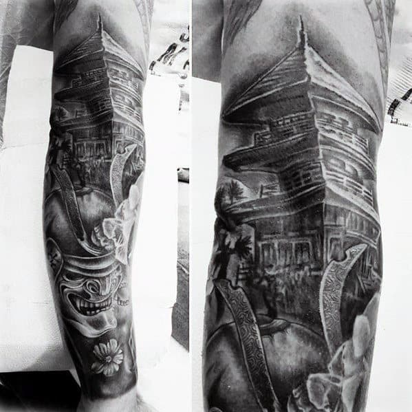 Shaded Black And Grey Japanese Male Full Leg Sleeve Tattoo